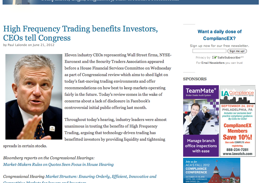 Wall Street Newsletter: High Frequency Trading